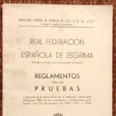 Livres: FEDERACION ESPAÑOLA DE ESGRIMA - REGLAMENTOS 1953. Lote 182138557