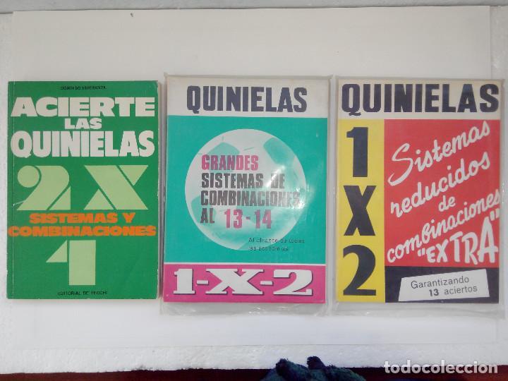 3 LIBROS QUINIELAS SISTEMAS REDUCIDDOS COMBINACIONES - ACIETE LAS QUINIELAS -GRANDES SISTEMAS DE CON (Libros Nuevos - Ocio - Deportes y Juegos)