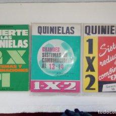 Livres: 3 LIBROS QUINIELAS SISTEMAS REDUCIDDOS COMBINACIONES - ACIETE LAS QUINIELAS -GRANDES SISTEMAS DE CON. Lote 190444106