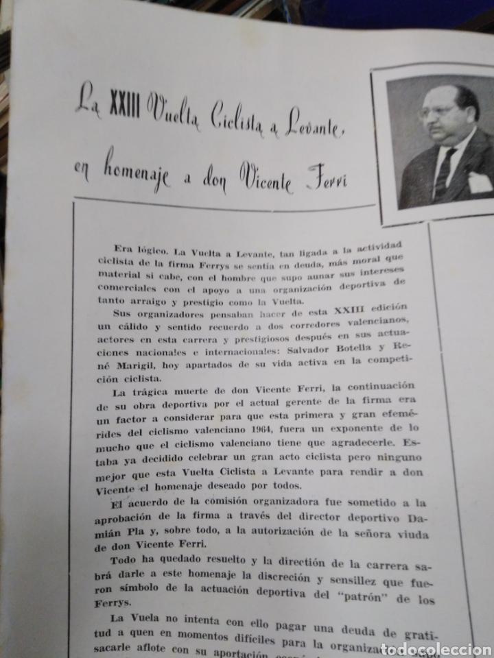 Libros: 23 VUELTA CICLISTA A LEVANTE-HOMENAJE DON VICENTE FERRI VILA(CICLISMO VALENCIANO)1964,ILUSTRADO - Foto 3 - 218503198