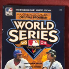 Libros: 2009 OFFICIAL MLB WORLD SERIES PROGRAM MLB INSIDERS CLUB LIMITED EDITION. Lote 220662852