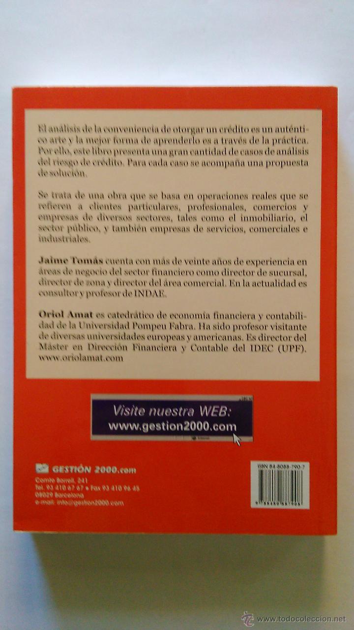 Libros: Casos prácticos de Análisis del Riesgo de Crédito. (NUEVO) 2002. JAIME TOMÁS, ORIOL AMAT - Foto 2 - 47952794