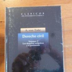 Libros: DERECHO CIVIL. VOL 1. LOS DERECHOS SUBJETIVOS Y PATRIMONIO.A.VON TUHR. MARCIAL PONS. 1988 364 PAG. Lote 47954886