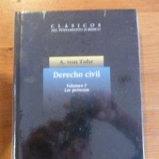 Libros: DERECHO CIVIL. VOL 1. LAS PERSONAS.A.VON TUHR. MARCIAL PONS. 1988 264 PAG. Lote 47954940