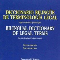 Libros: DICCIONARIO BILINGÜE DE TERMINOLOGÍA LEGAL. Lote 118795783