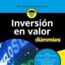 Libros: INVERSIÓN EN VALOR PARA DUMMIES PARA DUMMIES. Lote 103585946