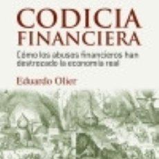 Libros: CODICIA FINANCIERA. Lote 126526750