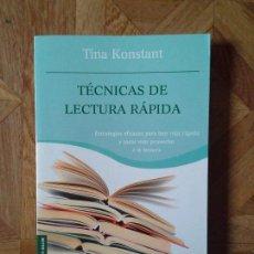 Libros: TINA KONSTANT - TÉCNICAS DE LECTURA RÁPIDA. Lote 147448754