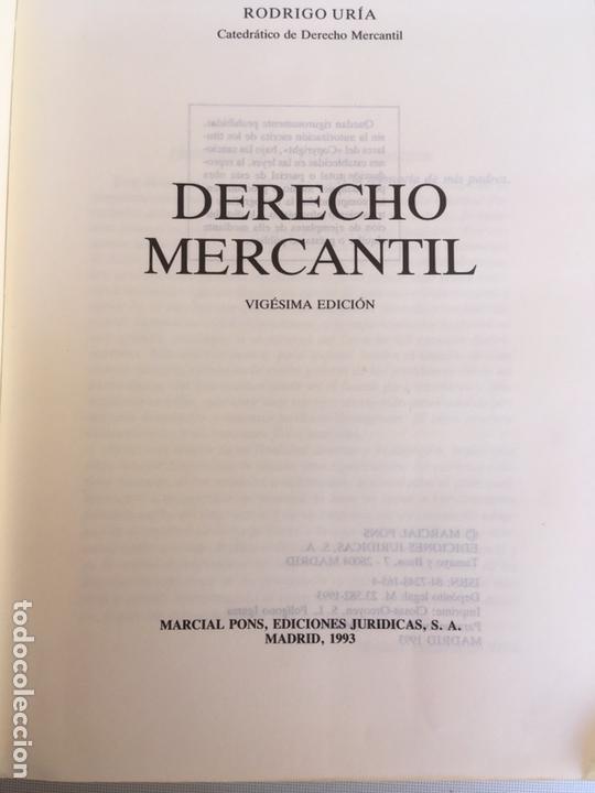Libros: LIBRO-DERECHO MERCANTIL-D.RODRIGO URÍA-1993-VIGÉSIMA EDICIÓN-VER FOTOS - Foto 2 - 169107544