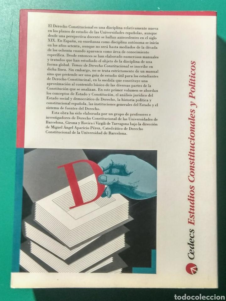 Libros: Temas de Derecho Constitucional (1). M.A. Aparicio. - Foto 2 - 180903855