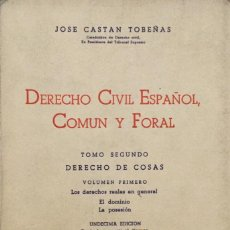 Libros: DERECHO CIVIL ESPAÑOL COMÚN Y FORAL. TOMO II. VLLUMEN 1. REUS. Lote 194768873