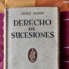 Libros: DERECHOS DE SUCESIONES JULIOS BINDER. Lote 198285465