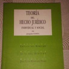 Libros: TEORÍA DEL HECHO JURÍDICO INDIVIDUAL Y SOCIAL. COSTA, JOAQUÍN (1846-1911) - EDITORIAL COMARES: 2000. Lote 204370575