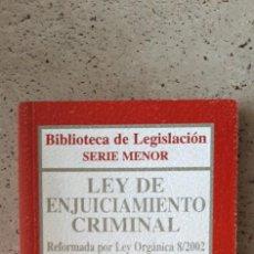 Libros: LIBRO LEY DE ENJUICIAMIENTO CRIMINAL. Lote 218177382