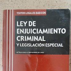Libros: LIBRO LEY DE ENJUICIAMIENTO CRIMINAL Y LEGISLACION. Lote 218177790
