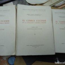 Libros: EL CODICE LUCENSE DE LA COLECCIÓN CANÓNICA HISPANA. 3 VOLS. O. C. CARLOS GARCÍA GOLDARAZ. ILUSTRADOS. Lote 234941055