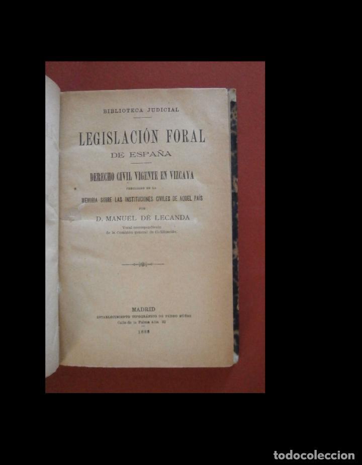 LEGISLACION FORAL DE ESPAÑA. DERECHO CIVIL VIGENTE EN VIZCAYA. MANUEL DE LECANDA (Libros Nuevos - Ciencias, Manuales y Oficios - Derecho y Economía)