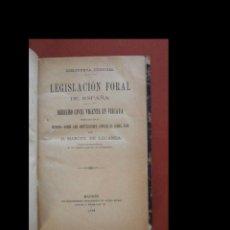 Libros: LEGISLACION FORAL DE ESPAÑA. DERECHO CIVIL VIGENTE EN VIZCAYA. MANUEL DE LECANDA. Lote 268040859