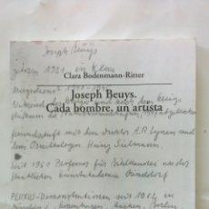 Libros: BEUYS, JOSEPH. CADA HOMBRE, UN ARTISTA. EDITORIAL VISOR. Lote 165981565