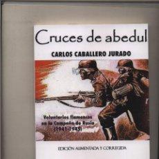 Libros: CRUCES DE ABEDUL VOLUNTARIOS FLAMENCOS EN LA CAMPAÑA DE RUSIA CARLOS CABALLERO JURADO WAFFEN SS. Lote 167013046