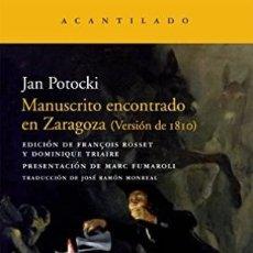 Libros: MANUSCRITO ENCONTRADO EN ZARAGOZA POTOCKI, JAN EL ACANTILADO GASTOS DE ENVIO GRATIS. Lote 176854400