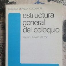 Libros: ESTRUCTURA GENERAL DEL COLOQUIO. MANUEL CRIADO DE VAL.. Lote 179958195
