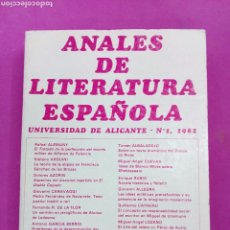 Libros: ANALES DE LITERATURA ESPAÑOLA , UNIVERSIDAD DE ALICANTE ,1982 ,TOMO I. Lote 212014258