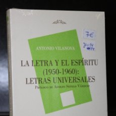Libros: LA LETRA Y EL ESPÍRITU (1950-1960): LETRAS UNIVERSALES.. Lote 195176006