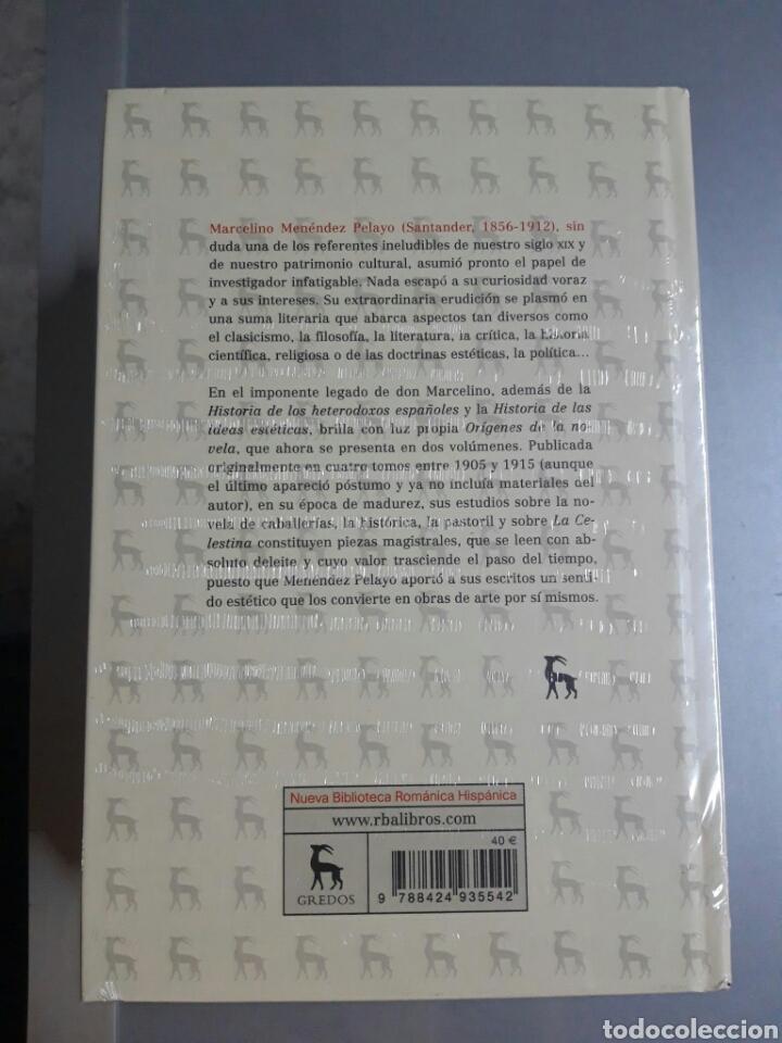 Libros: Orígenes de la novela. Volúmenes I y II. Marcelino Menéndez Pelayo. - Foto 3 - 244511165
