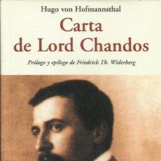 Libros: CARTA DE LORD CHANDOS / HUGO VON HOFFMANNSTHAL.. Lote 268615799