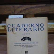 Libros: JURADO MORALES JOSE. CUADERNO LITERARIO AZOR. III.. Lote 269580553