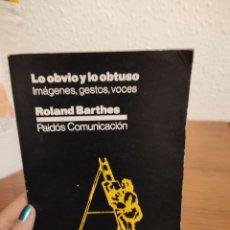 Libros: LO OBVIO Y LO OBTUSO: IMÁGENES, GESTOS Y VOCES   ROLAND BARTHES. Lote 292335873