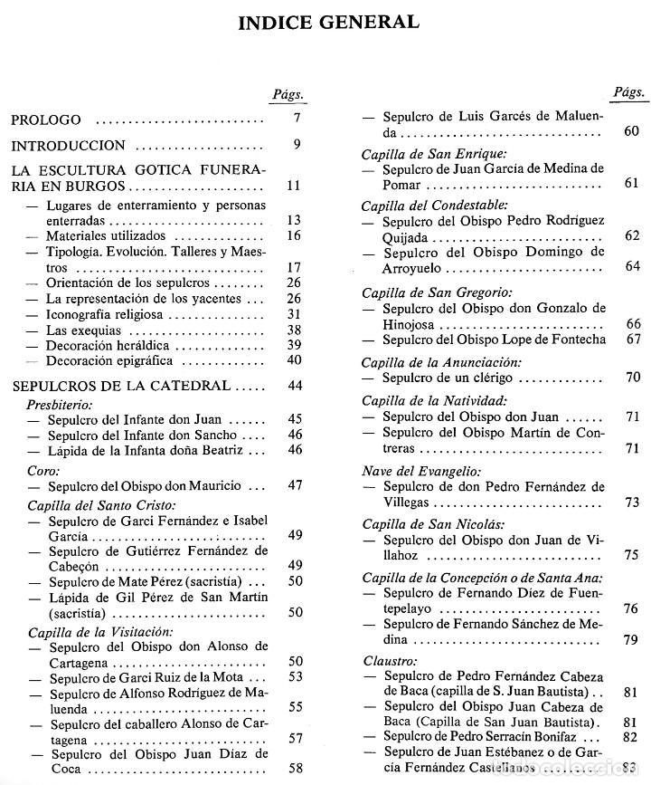 Libros: ESCULTURA GÓTICA FUNERARIA EN BURGOS / Mª. JESUS GÓMEZ BARCENA / 1ª EDICIÓN 1988 - Foto 2 - 211674059