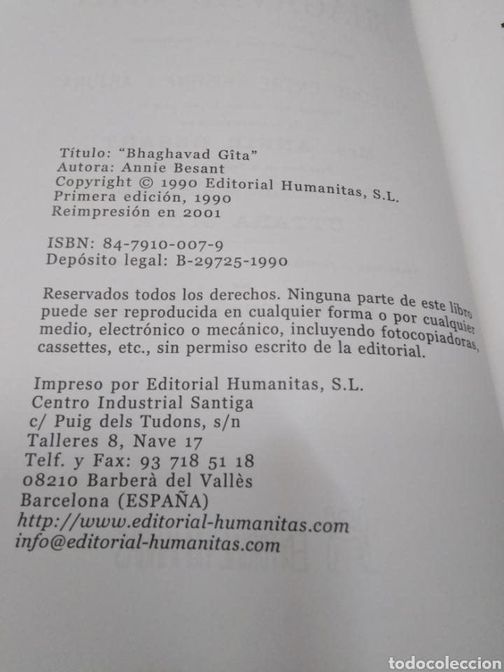 Libros: BHAGAVAD GITA(CANTO DEL SEÑOR)ANNIE BESANT,UTTARA GITTA,EDITORIAL HUMANITAS,1990 - Foto 6 - 218498095