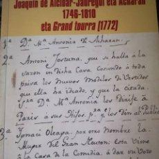 Libros: JOAQUIN DE ALCIBAR-JAUREGUI ETA ACHARAN 1746-1810: ETA GRAND TOURRA (1772). Lote 106861971
