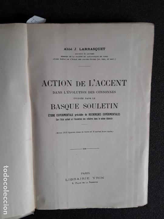 Libros: Larrasquet, Abbé J. Acción del acento en el dialecto suletino. Euskera. Lengua Vasca. - Foto 2 - 153928726