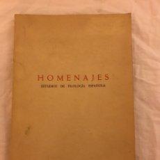 Libros: HOMENAJES ESTUDIOS DE FILOLOGÍA ESPAÑOLA MADRID 1965. Lote 77100202