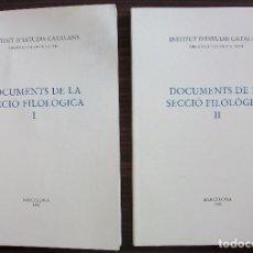 Libros: DOCUMENTS DE LA SECCIO FILOLOGICA I I II. 1990 - 1993 . Lote 131345502