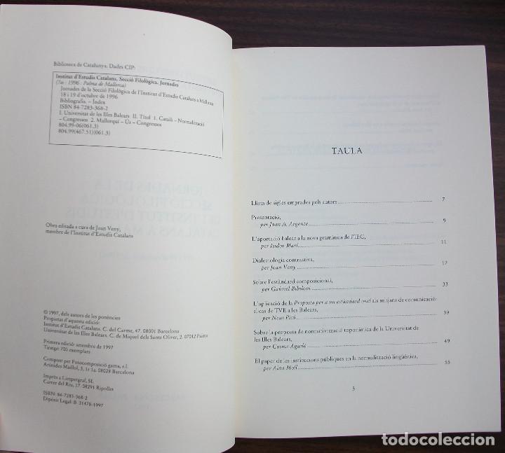 Libros: JORNADES DE LA SECCIO FILOLOGICA DE L´INSTITUT D´ESTUDIS CATALANS A MALLORCA 1996 - Foto 2 - 131350338