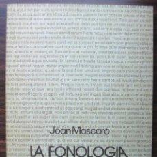 Libros: LA FONOLOGIA CATALANA I EL CICLE FONOLOGIC. JOAN MASCARO. . Lote 141127894