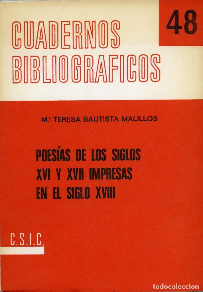 M. TERESA BAUTISTA MALILLOS, POESÍAS DE LOS SIGLOS XVI Y XVII IMPRESAS EN EL SIGLO XVIII (Libros Nuevos - Humanidades - Filología)
