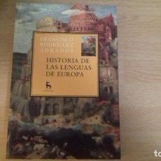 Livros: HISTORIA DE LAS LENGUAS DE EUROPA. Lote 192967928