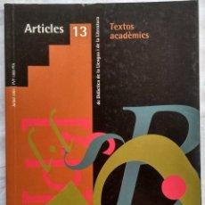 Libros: REVISTA DE DIDACTICA DE LA LLENGUA I DE LA LITERATURA. ARTICLES 13. AÑO 2002. Lote 182424480