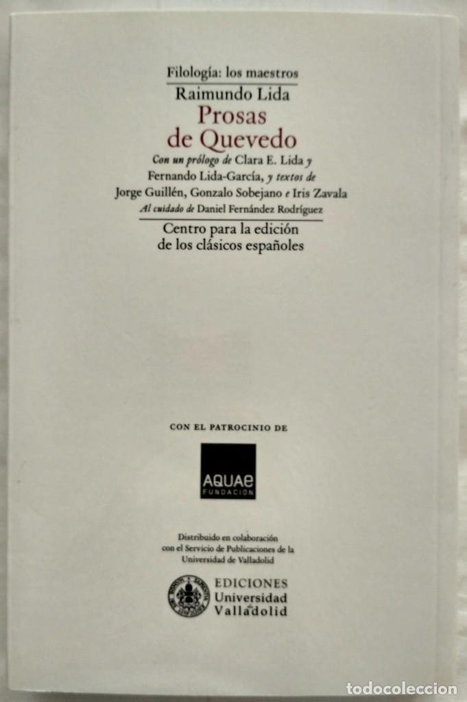 Libros: PROSAS DE QUEVEDO. RAIMUNDO LIDA. - Foto 2 - 187418931
