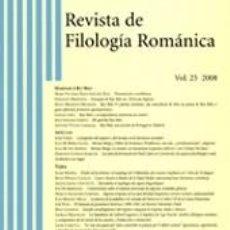 Libros: REVISTA DE FILOLOGÍA ROMÁNICA, VOL. 25, 2008. Lote 207371062