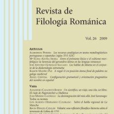 Libros: REVISTA DE FILOLOGÍA ROMÁNICA - VOL. 26, 2009. Lote 207371258