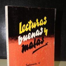 Libros: LECTURAS BUENAS Y MALAS A LA LUZ DEL DOGMA Y DE LA MORAL. SUPLEMENTO 4º .. Lote 201493870