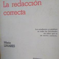 Libros: LA REDACCIÓN CORRECTA-MARIA LINARES,EDITA PARANINFO-1°EDICIÓN 1982,. Lote 220950466