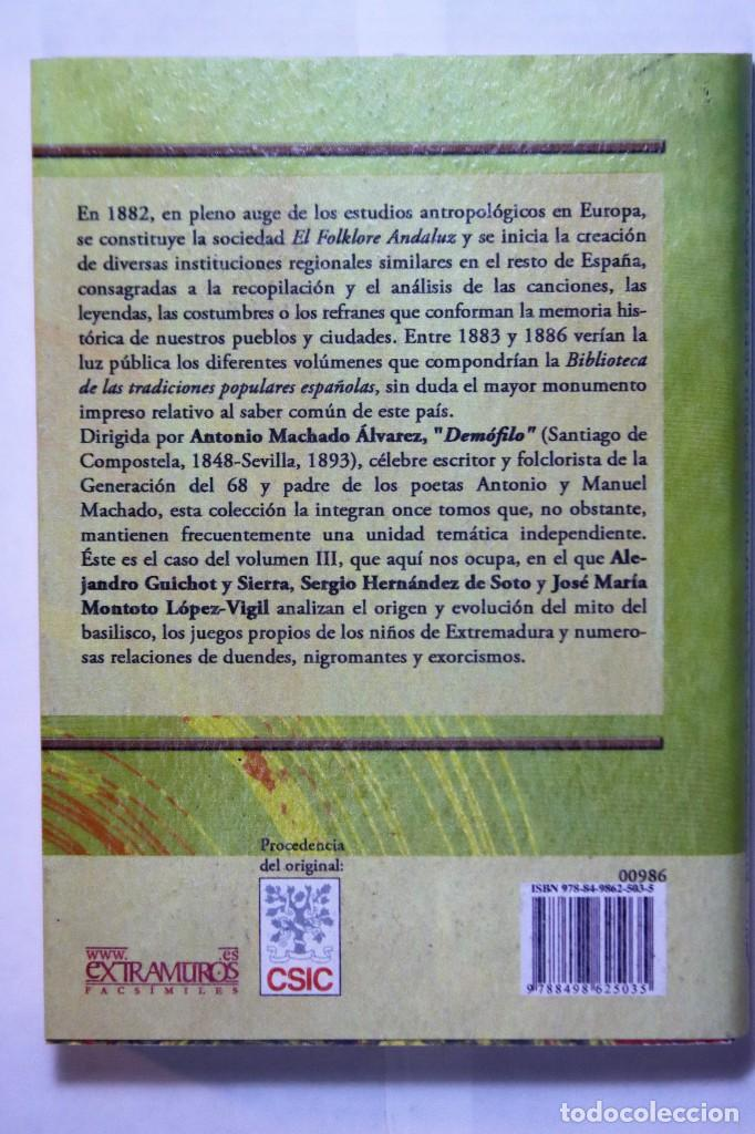 Libros: 11 libros relativos al FOLCLORE ESPAÑOL. Tradiciones españolas. Antonio Machado y Álvarez, Demófilo - Foto 8 - 238872510