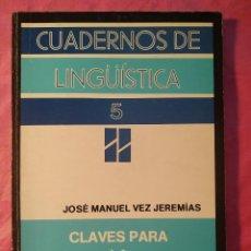 Libros: CLAVES PARA LA LINGÜÍSTICA APLICADA. Lote 244407345